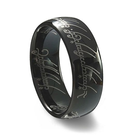 black lotr titanium wedding band elvish hobbit lord of the ring weddingbandmartcom - Lord Of The Rings Wedding Rings