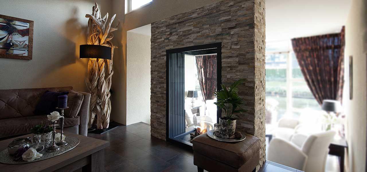 Barroco natuursteenstrips steenstrips modern rusty open haard woonkamer sfeerimpressie 3 1 - Moderne woonkamer eetkamer ...