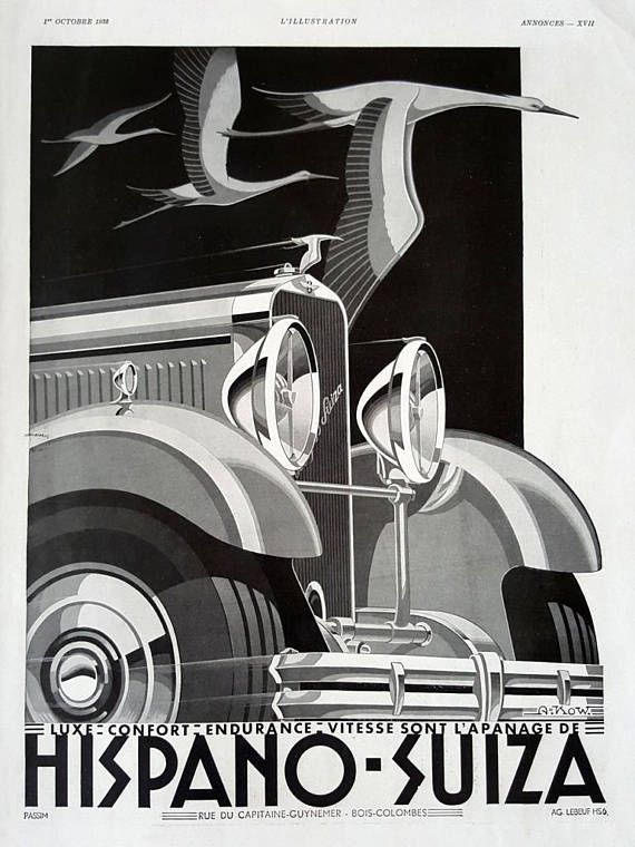 Hispano suiza car poster vintage print ad vintage
