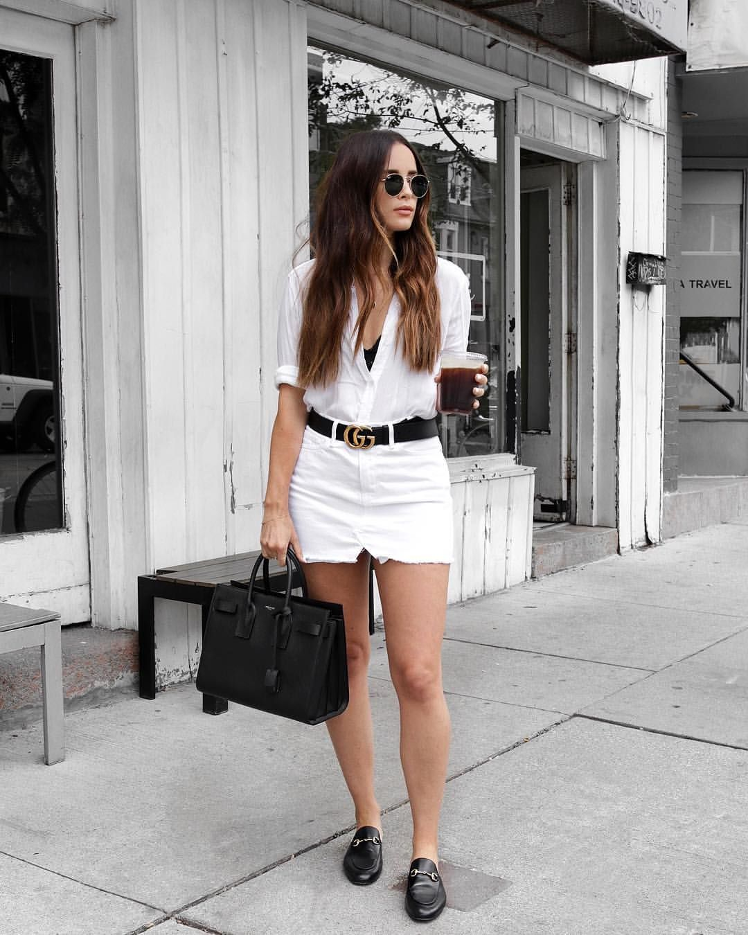 6a61a2150 white denim skirt and Gucci belt outfit | Dream closet in 2019 ...