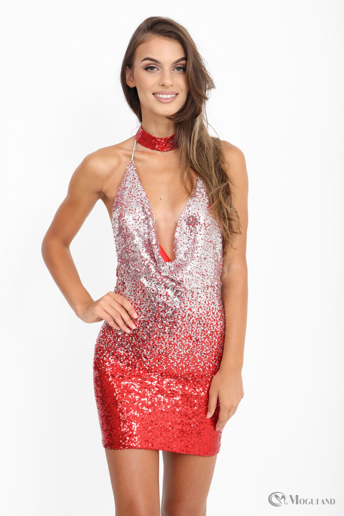 59e41a0ed2 Ladies red and silver ombre sequin cowl neck choker dress wholesale - Women s  Wholesale Clothing Supplier