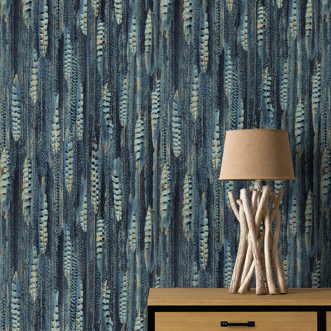 papier peint theodore vinyle sur intiss imprim plumes bleu vinyles plumes et papier peint. Black Bedroom Furniture Sets. Home Design Ideas