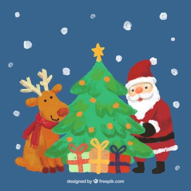 Download Hand Painted Reindeer Santa Claus And A Christmas Tree For Free Art Christmas Gifts Santa Claus Christmas Tree Christmas Art