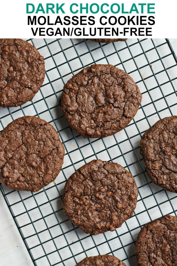 These Vegan Glutenfree Grainfree Dark Chocolate Molasses Cookies are wonderfully chewy with a rich chocolate flavor that is beautifully enhanced by rich molasses These ar...