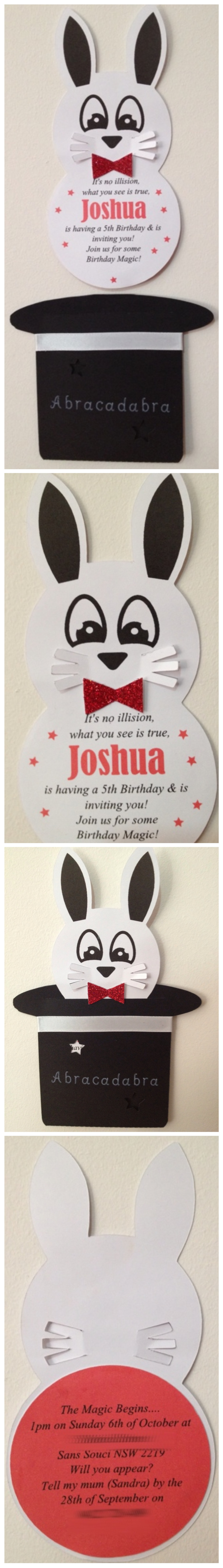 Magicmagician themed party invitation with a rabbit popping out of