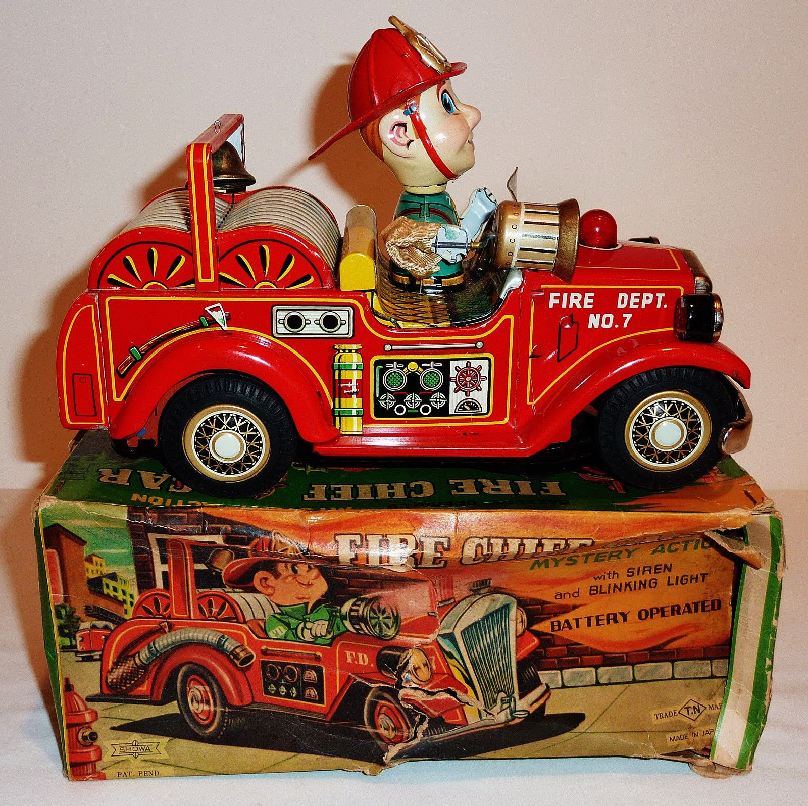 Nomra Fire Chief Car Batt Op toy from 50s ebay