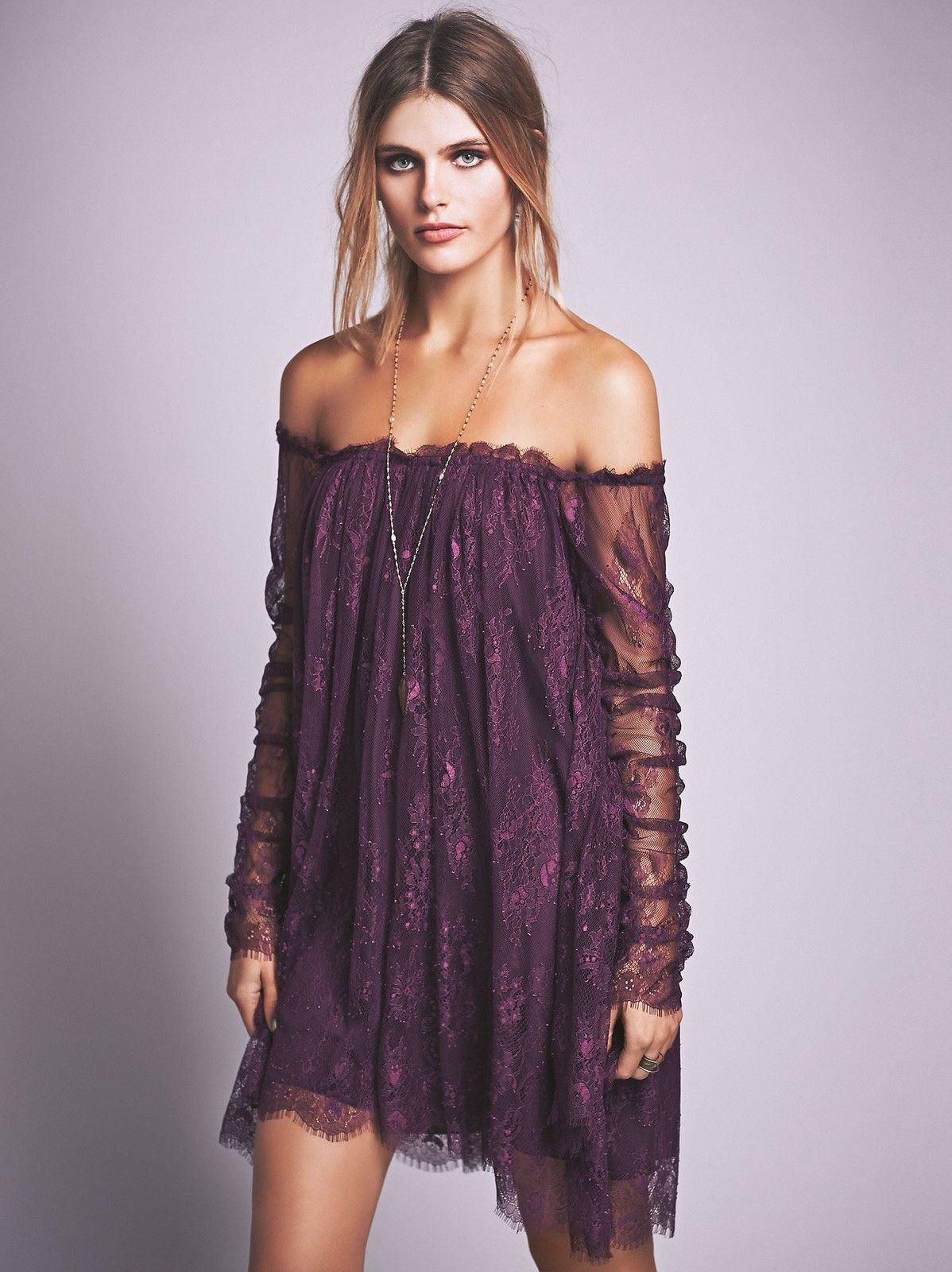 Lady\'s Off The Shoulder Batwing Lace Dress Inspired Womens Boho ...