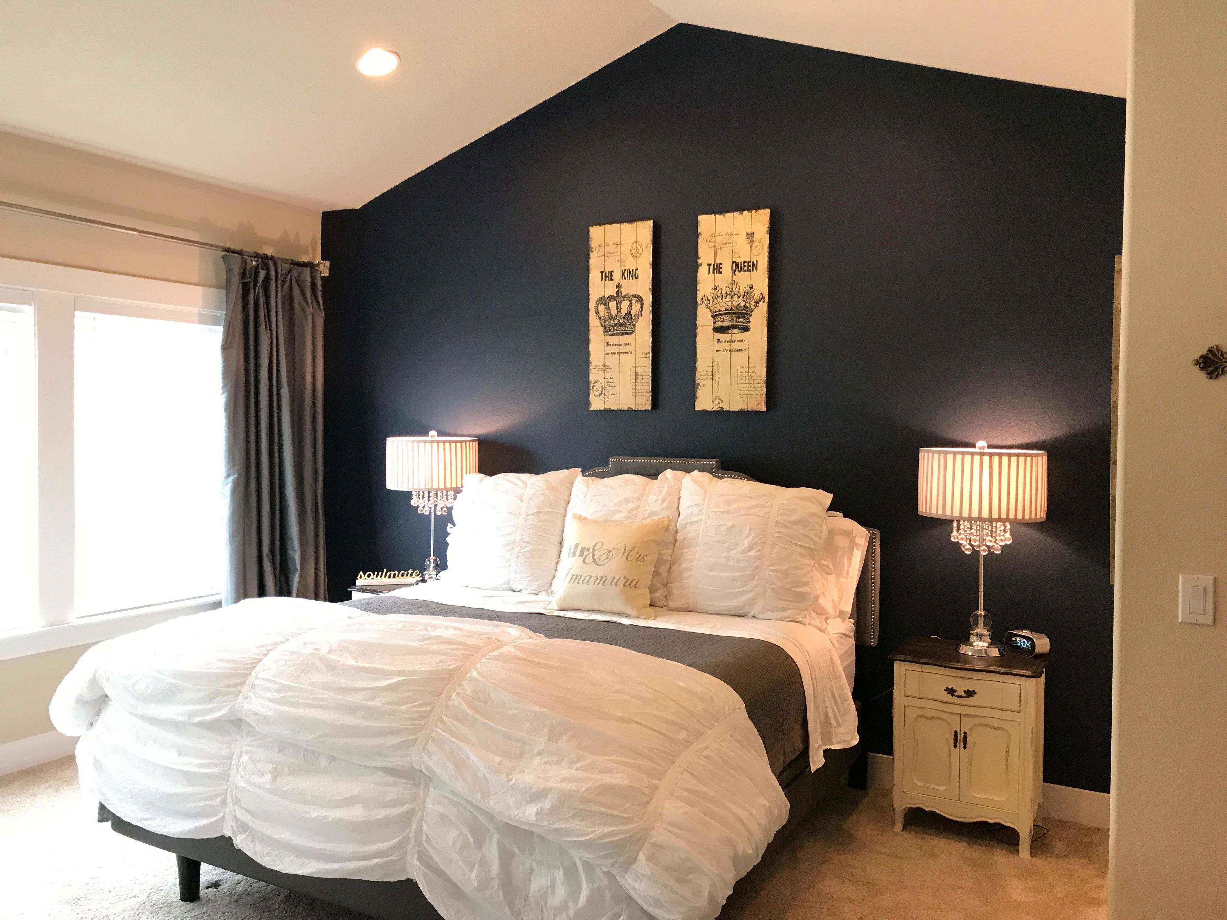 Accent Wall Painted Naval By Sherwin Williams Master Bedroom