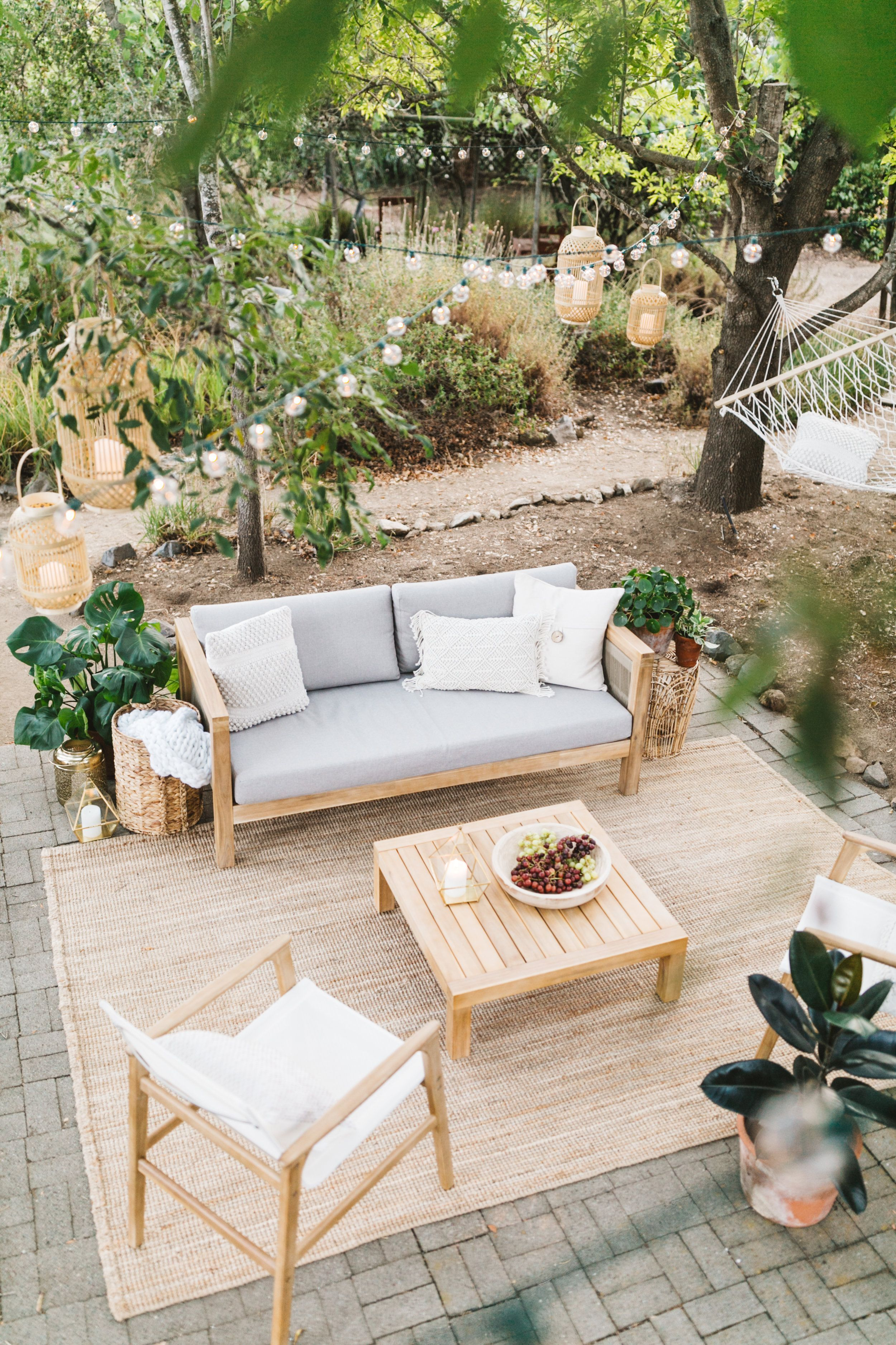 Outdoor Patio Design Inspiration Outdoor Living Area Patio Furniture Ideas Bistro Lights In 2020 Outdoor Patio Designs Garden Furniture Design Patio Design