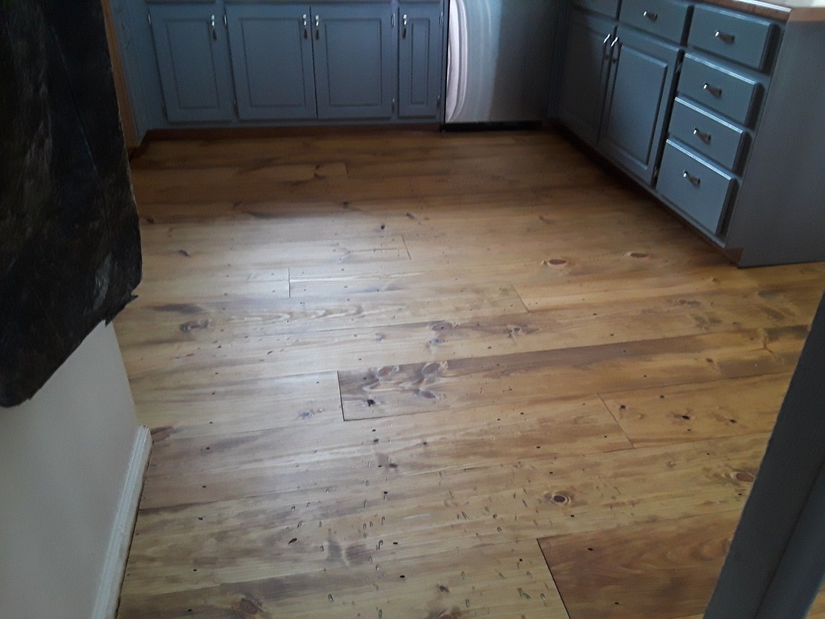 I love my new kitchen floors 9 in. Wide plank yellow pine ...