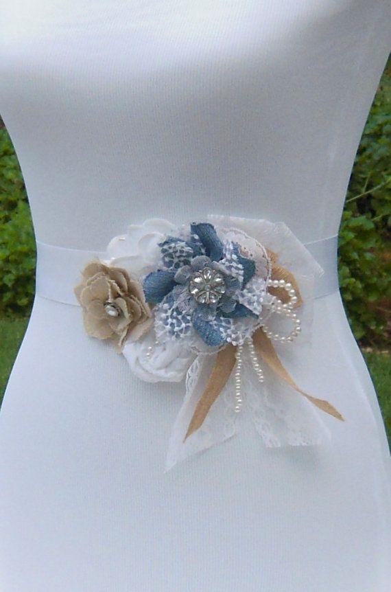 Maternity Sash, Denim Wedding Dress Belt, White, Muslin & Blue Denim ...