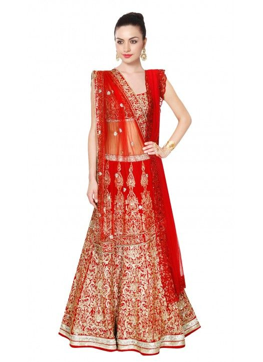 b3a28a4e94 Ladies Flavour Red Bangalore Silk Circular Semi Stitched Lehenga Online at discount  price