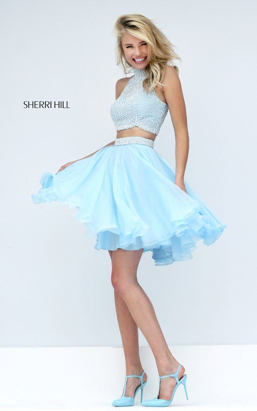 Chiffon Sherri Hill Two Piece Short Prom Dress 50179 | Formal ...