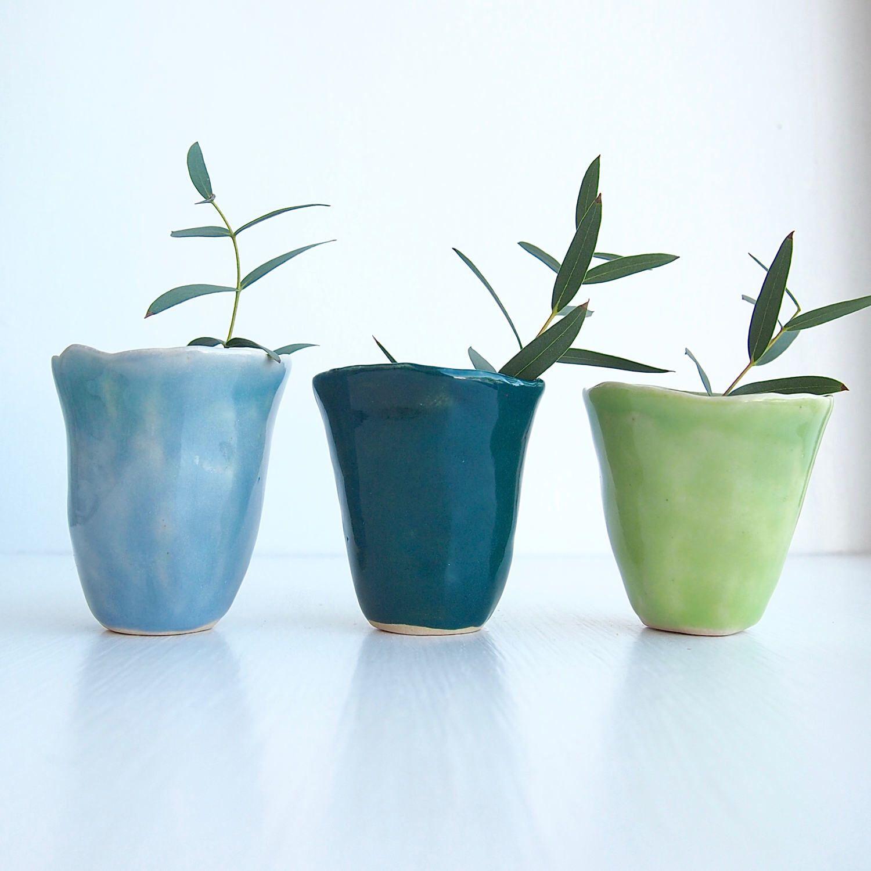 Handmade Ceramic Blue Green Mini Vases Blue Pottery Vase Green Pottery Vase Mini Ceramic Vase Flower Vase Flower Pot Small Vase Small Vase Mini Vase Green Pottery