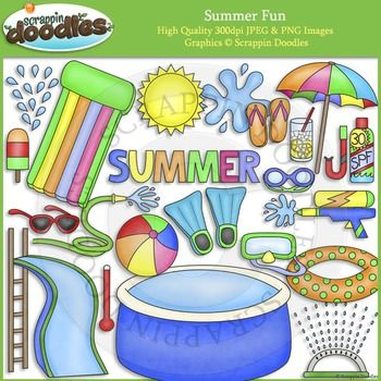 "Our Summer Fun set includes all the images shown in the sample picture (23 images)Graphics come in JPEG and PNG format 300 dpi format.My graphics are suitable for printing and digital projects and can be easily re-sized smaller to suit other needs, graphics measure up to approx 6"".Original Artwork by Scrappin DoodlesScrappin DoodlesKey Words: summer, sun, hose, water, swimming, pool, sprinkler, popsicle, umbrella, lemonade, snorkel, goggles, mask, temperature, beach ball, flippers, sun…"