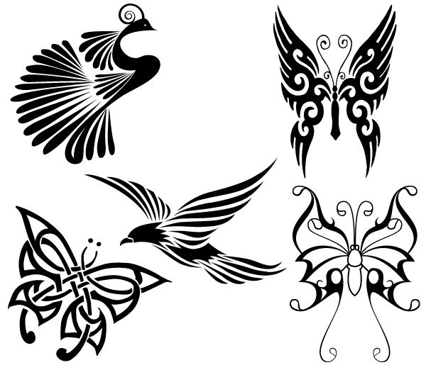 Free Tribal Birds And Butterflies Vector Butterflies Vector Vector Art Silhouette Butterfly