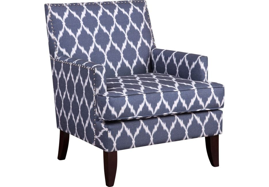 Awesome Aubinwood Blue Pattern Accent Chair Blue Accent Chairs Machost Co Dining Chair Design Ideas Machostcouk