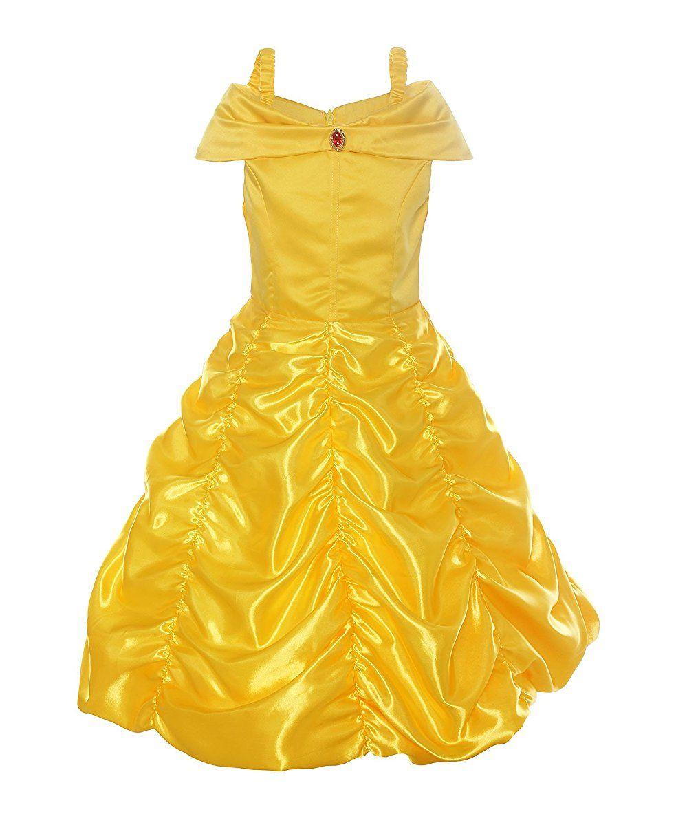 ReliBeauty Mädchen Kleider Brosche Prinzessin Kleid Belle Einfarbig ...