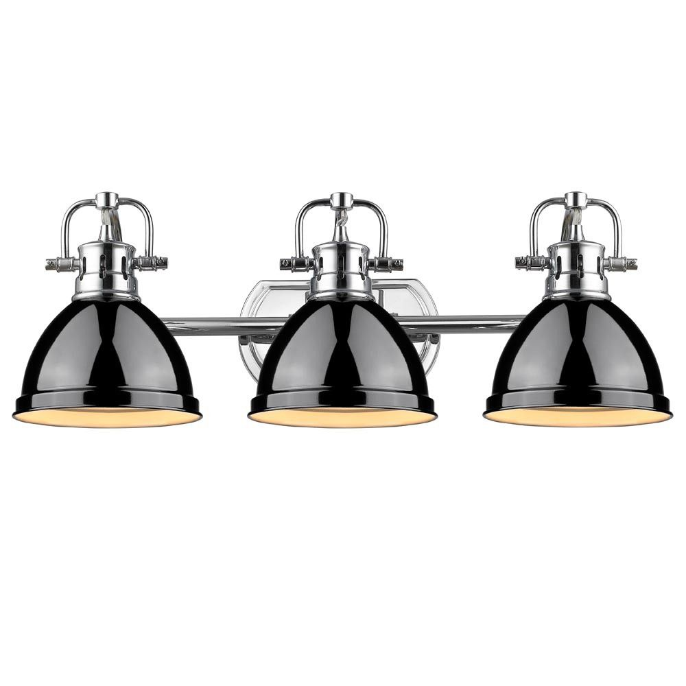 Duncan Industrial Bath Vanity Light With High Gloss Black Metal
