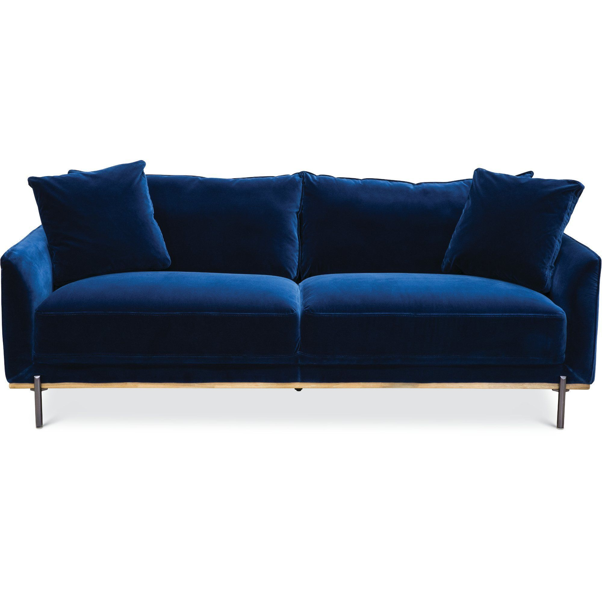 Modern Royal Blue Velvet Sofa - Marseille images