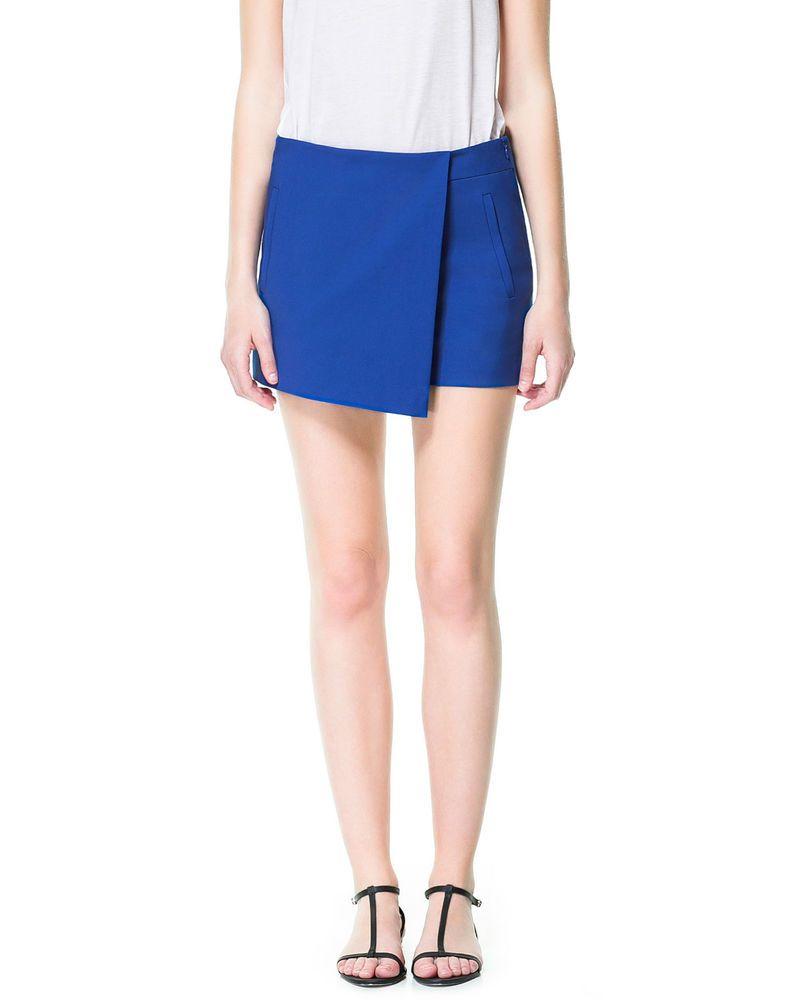 e407d26c7e4e1 ZARA Wrap Asymmetric Mini Skort Cobalt Blue Shorts Skirt XS S UK 8 ...
