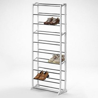 Lynk 30 Pair Shoe Rack 10 Tier Shoe Shelf Organizer White