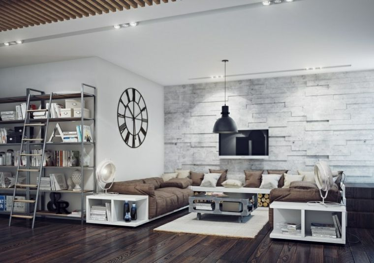 Lovely Interior Designing Of Homes: Simple Tips For Create Best Interior  Design : Charming Industrial Style Living Room Design With Brown Sofa  Sectional And ...