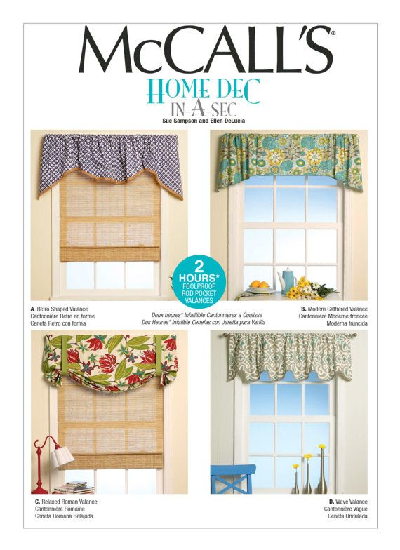 Sewing Pattern For Four Window Valances Patterns Mccalls Pattern M7034 Sew Designer Look Window Treatments For Your Home Valance Patterns Valance Patterns Valance Home Decor Fabric