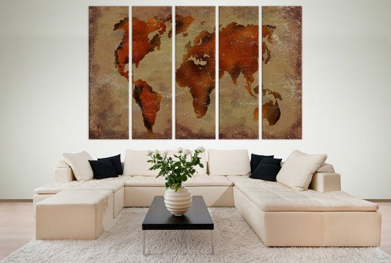 Large world map panels poster decor canvas world map print multi large world map panels poster decor canvas world map print multi panel wall art world gumiabroncs Images
