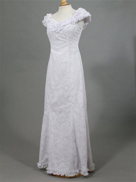 5c586f9bb9c3 Princess Kaiulani Hibiscus&Plumeria / White Frill Sleeve Dress AlohaOutlet  SelectShop