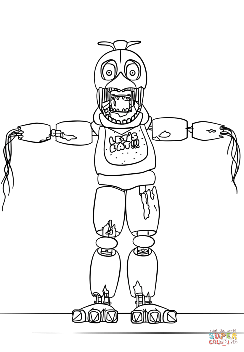 FNaF Withered Chica coloring page