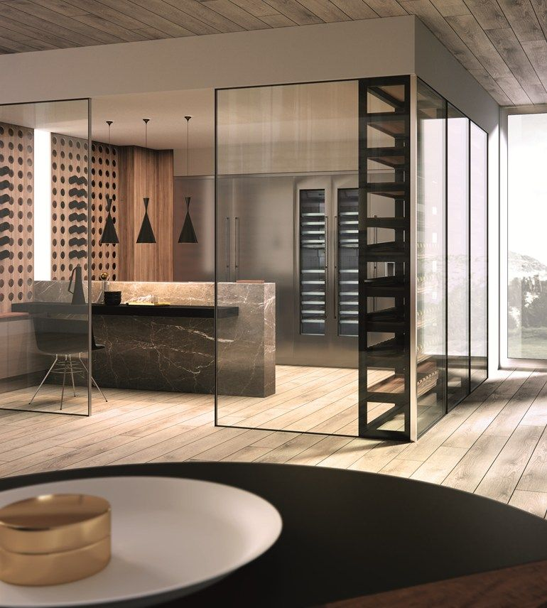 Kitchen with peninsula without handles domina kitchen with peninsula aster cucine wine - Aster cucine spa ...