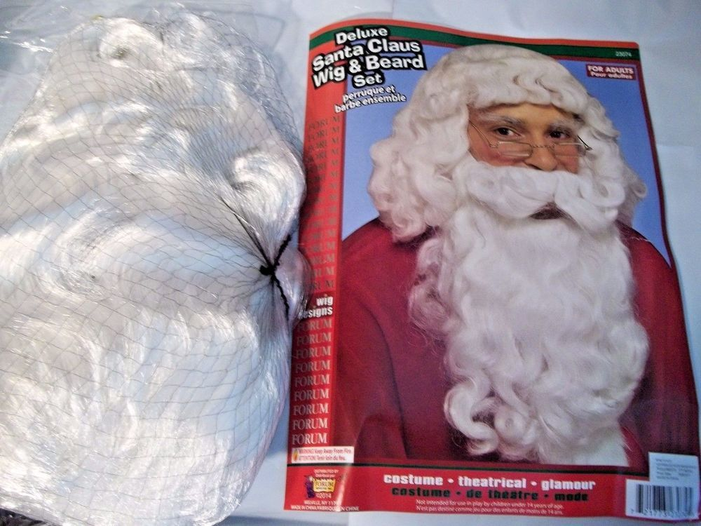 Santa Claus Deluxe Wig and Beard Set Full Synthetic Fiber White Christmas