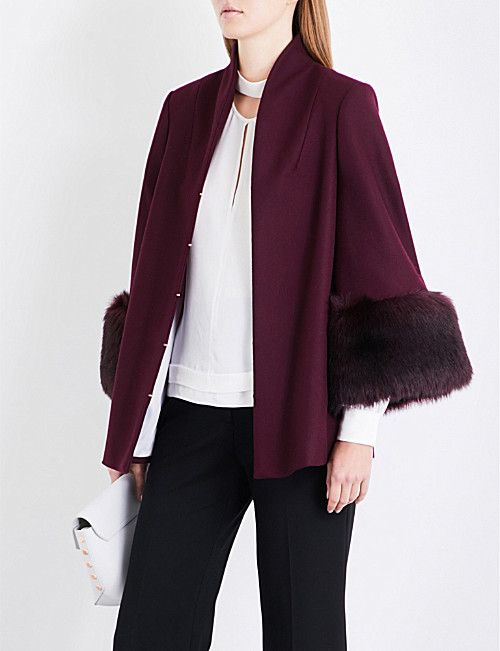 bf7c50501 TED BAKER Rilly faux-fur cuffs wool-blend coat