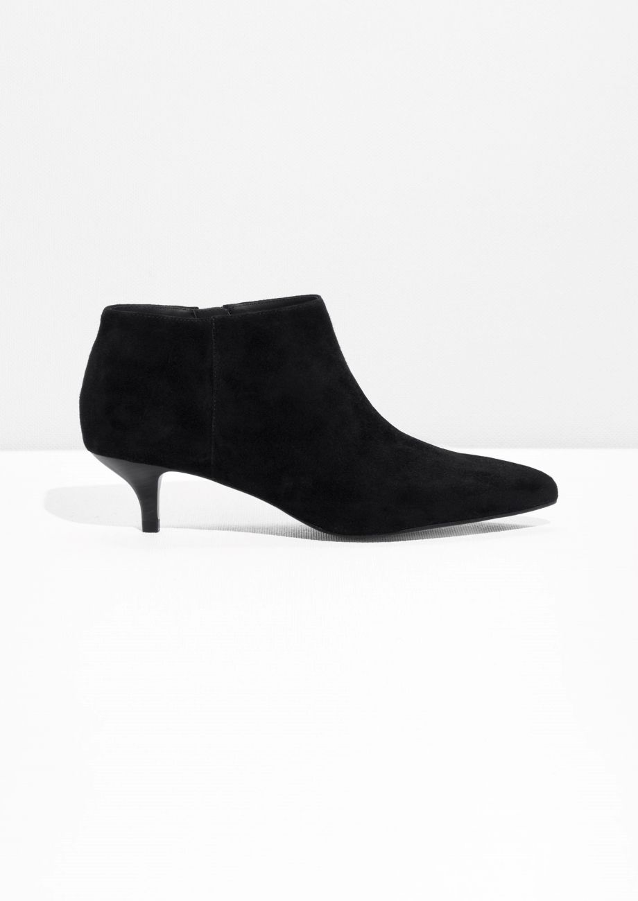 Other Stories Image 1 Of Kitten Heel Suede Boot In Black Kitten Heel Ankle Boots Kitten Heel Boots Boots