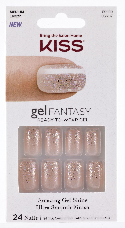 Kiss Gel Fantasy Medium Design Nails 24 Nails Multi Color Gel Fantasy Nails Kiss Gel Fantasy Nails Fantasy Nails