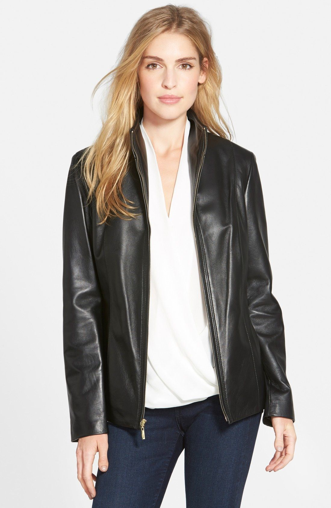 Cole Haan Wing Collar Lambskin Leather Jacket Womens