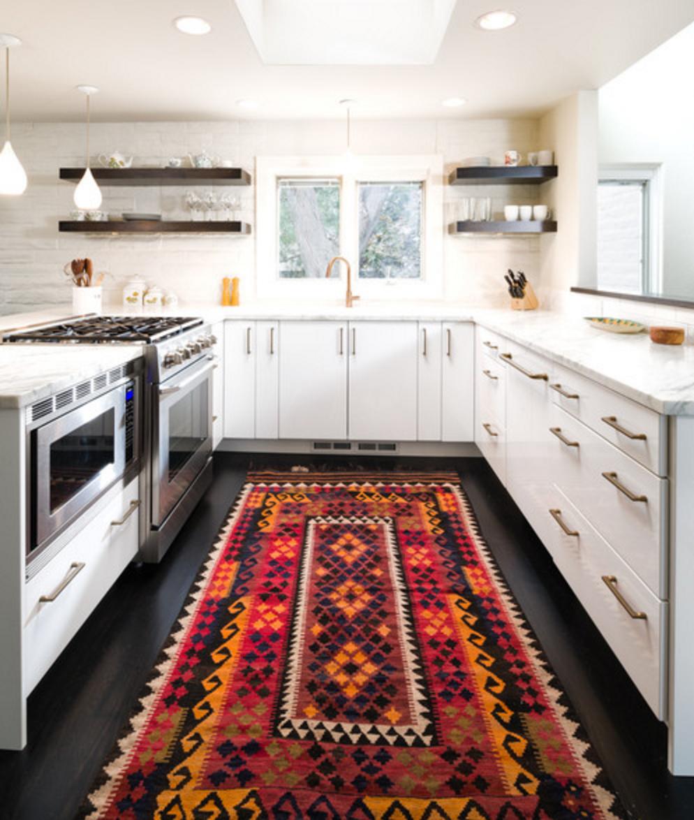 Bright Rug In A Monotone Kitchen Funky Kitchen Contemporary