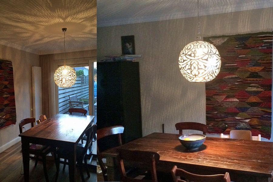 Grote arabische lamp isra boven eettafel arabische for Grote hanglamp eettafel