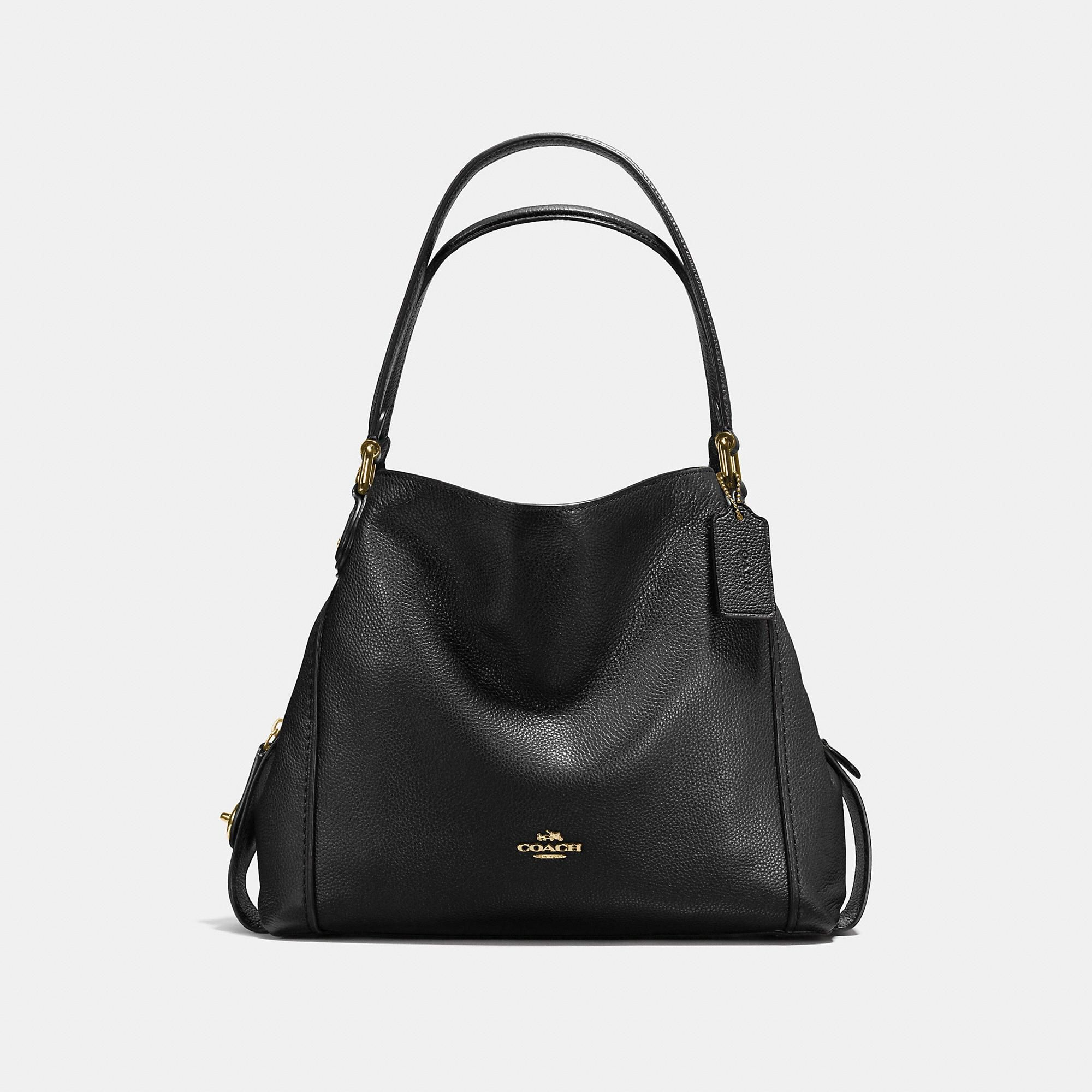 Tote - Polished Pebbled Leather Edie 31 Shoulder Bag Heather Grey - grey - Tote for ladies Coach DAUUf0BN