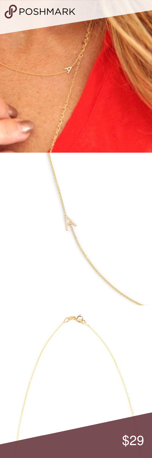 Photo of Delicate Gold Chain Initial Necklace | Letter A Delicate Gold Chain Initial Neck…