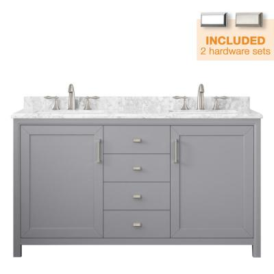 Rockleigh 60 In W X 22 In D Bath Vanity In Pebble Grey With