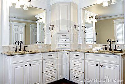 Luxury Large White Master Bathroom Cabinets With Double Sinks White Master Bathroom Bathroom Remodel Master Bathroom Corner Cabinet