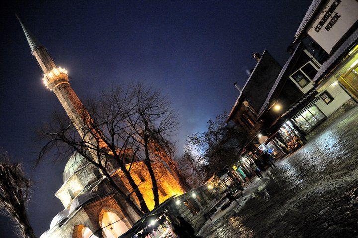 Begova Džamija [Muslim Mosque] at Night, (Sarajevo, Bosnia ...