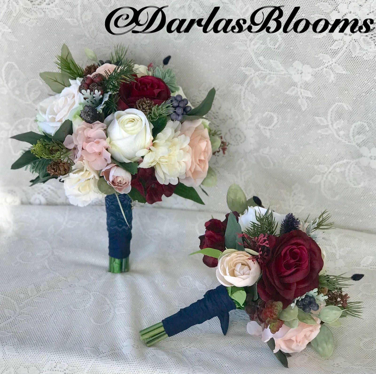 Wedding Bouquet Bridal Bouquet Burgundy Navy Bouquet Burgundy