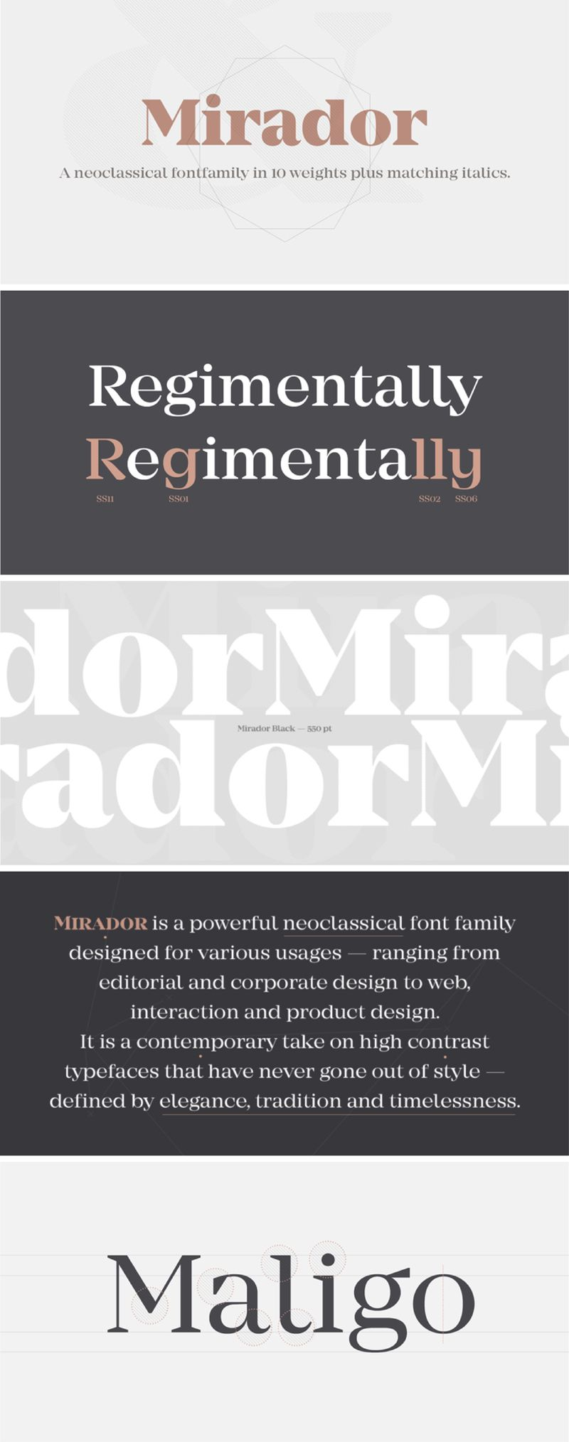 Mirador is a powerful neoclassical font family designed for