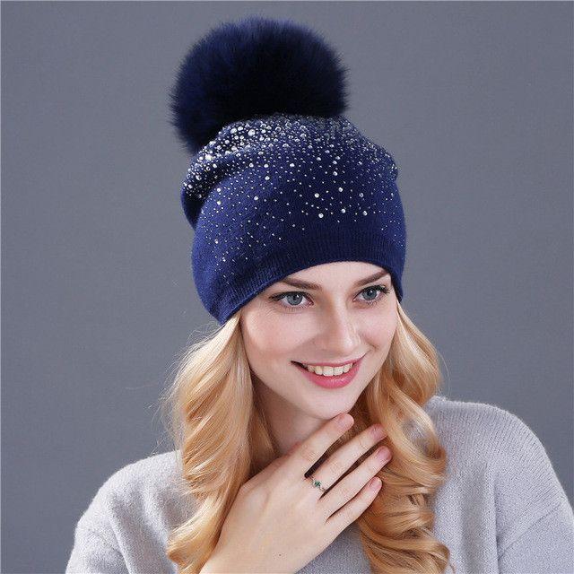 c3aad103672  Xthree  women winter beanie hat Rabbit fur wool knitted hat the female of  the mink pom pom Shining Rhinestone hats for women