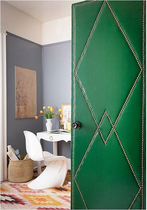 upholstered door nailhead trim.  Green and Gray.