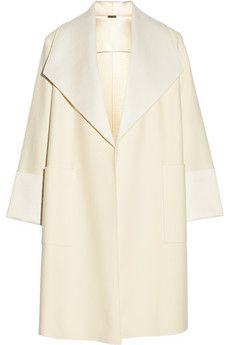 Adam Lippes Satin-trimmed wool-blend coat