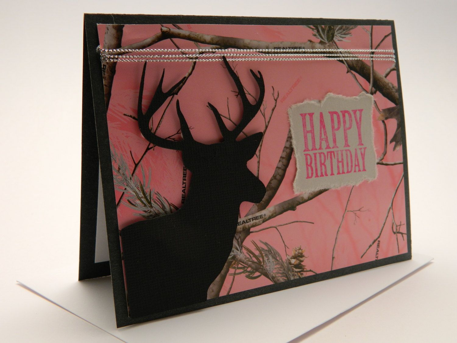 Handmade greeting card birthday buck realtree by designsbycnc woman birthday cards happy birthday her camouflage cards pink camo card card for wife girlfriend birthday deer hunter bookmarktalkfo Image collections
